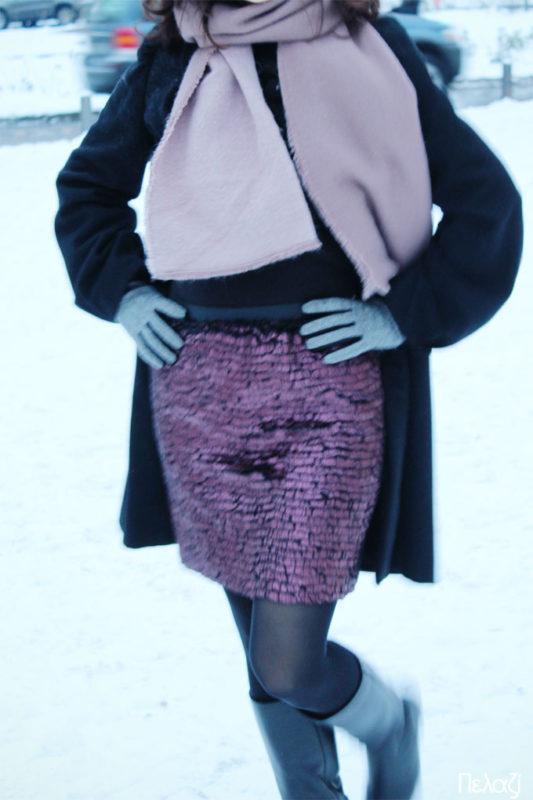 φούστα με λάστιχο στα χιόνια