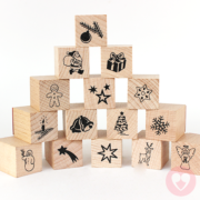 Σφραγίδες με ξύλινο σώμα και χριστουγεννιάτικα θέματα