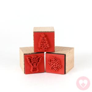Σετ ξύλινων σφραγίδων με χριστουγεννιάτικα σχέδια