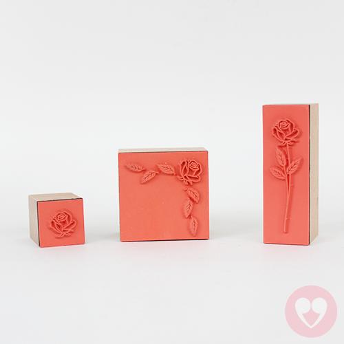ξύλινες σφραγίδες με θέμα λουλούδια