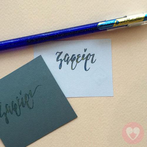 Στυλό gel σε χρώμα μπλε/χρυσό με γκλίτερ