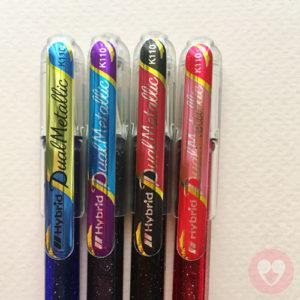 Κυτ από τέσσερα στυλό gel με διπλά μεταλλικά/γκλίτερ χρώματα