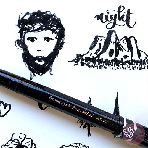 Λεπτός μαρκαδόρος πινέλο Pentel Sign Pen Artist για σχέδιο και καλλιγραφία