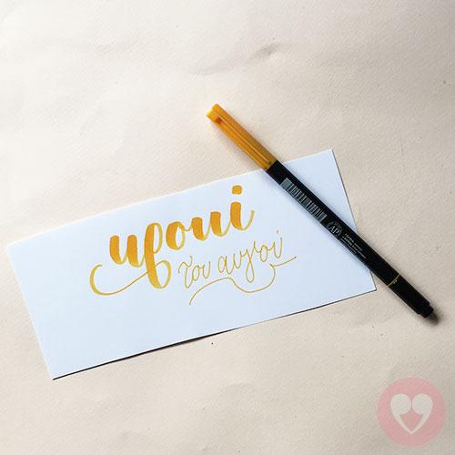 Lyra Aqua Duo διπλός μαρκαδόρος καλλιγραφίας χρώμα κίτρινο κροκί