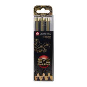 Επετειακό σετ black & gold 6 μαρκαδόρων Sakura Pigma Micron
