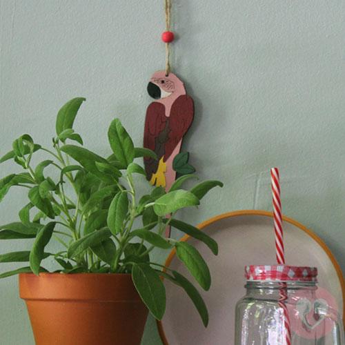 Ξύλινος διακοσμητικός παπαγάλος